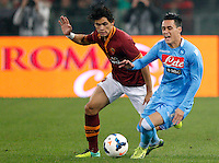 Calcio, Serie A: Roma vs Napoli. Roma, stadio Olimpico, 18 ottobre 2013.<br /> AS Roma defender Dodo', of Brazil, and Napoli forward Jose' Maria Callejon, of Spain, fight for the ball during the Italian Serie A football match between AS Roma and Napoli at Rome's Olympic stadium, 18 October 2013.<br /> UPDATE IMAGES PRESS/Riccardo De Luca
