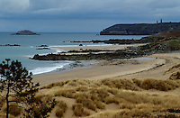 Europe/France/Bretagne/22/Côtes-d'Armor/Pléhérel: La plage et le Cap Fréhel à l'arrière plan