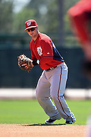 Washington Nationals infielder Mike McQuillan (20) during practice before a minor league spring training game against the Atlanta Braves on March 26, 2014 at Wide World of Sports in Orlando, Florida.  (Mike Janes/Four Seam Images)