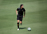 LOS ANGELES, CA - AUGUST 22: Dejan Jakovic #5 of the LAFC looks for an open man during a game between Los Angeles Galaxy and Los Angeles FC at Banc of California Stadium on August 22, 2020 in Los Angeles, California.