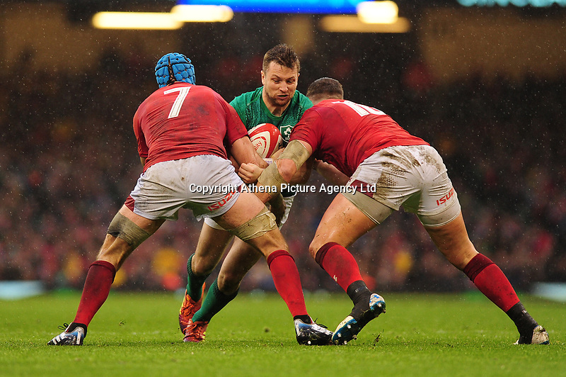 Pictured: Jack Carty of Ireland in action during the Guinness six nations match between Wales and Ireland at the Principality Stadium, Cardiff, Wales, UK.<br /> Saturday 16 March 2019