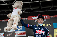Mathieu van der Poel (NED/Alpecin-Fenix) wins the 2021 Antwerp Port Epic.<br /> <br /> Antwerp Port Epic / Sels Trophy 2021 (BEL)<br /> One day race from Antwerp to Antwerp (183km)<br /> <br /> The APC stands qualified as a 'road race', but with 36km of gravel and 28km of cobbled sections in and around the Port of Antwerp (BEL) this race occupies a unique spot in the Belgian race scene.<br /> <br /> ©kramon