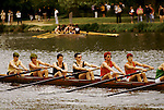 """Students. Oxford University Rowing Clubs Eights Week. Rowing races on the River Isis Oxford. (actually the River Thames). Summer Eights is a """"bumps race"""" intercollegiate rowing regatta takes place end of May in Trinity Term. 1995. 1990s UK"""