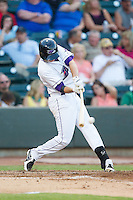 Zach Voight (12) of the Winston-Salem Dash makes contact with the baseball against the Carolina Mudcats at BB&T Ballpark on June 6, 2014 in Winston-Salem, North Carolina.  The Mudcats defeated the Dash 3-1.  (Brian Westerholt/Four Seam Images)