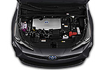 Car Stock 2019 Toyota Prius LE 5 Door Hatchback Engine  high angle detail view