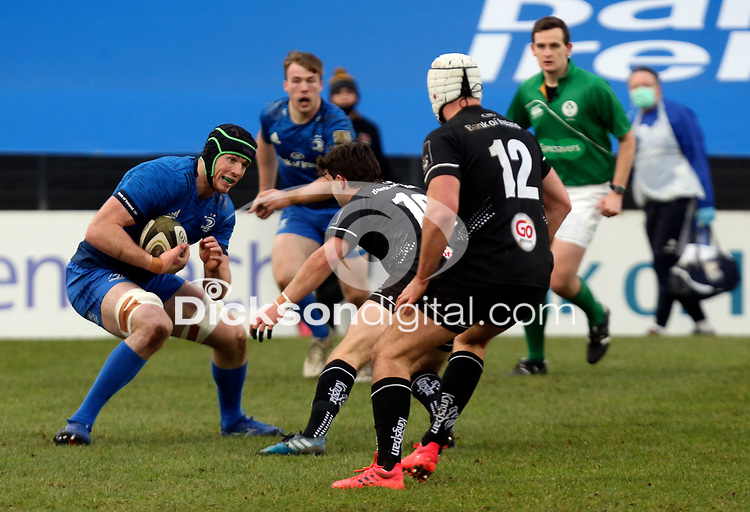 15 January 2021; Ryan Baird is tackled by Bill Johnston during the A Interprovincial match between Ulster and Leinster at Kingspan Stadium in Belfast. Photo by John Dickson/Dicksondigital