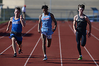 Joshua Workman (from left) of Rogers pulls ahead Friday, April 30, 2021, of Jonah Hill of Fort Smith Southside and Carson Tucker of Bentonville as they compete in the 100 meters during the 6A-West Conference Track and Field Meet at the Bentonville Tiger Athletic Complex in Bentonville. Visit nwaonline.com/210501Daily/ for today's photo gallery. <br /> (NWA Democrat-Gazette/Andy Shupe)