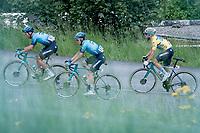 team Astana - Premier Tech escorting yellow jersey / GC leader Alexey Lutsenko (KAZ/Astana - Premier Tech) up the Col du Pré (HC/1748m/12.6km@7.7%)<br /> <br /> 73rd Critérium du Dauphiné 2021 (2.UWT)<br /> Stage 7 from Saint-Martin-le-Vinoux to La Plagne (171km)<br /> <br /> ©kramon