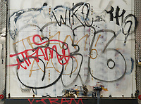 AVAILABLE FROM JEFF AS A FINE ART PRINT.<br /> <br /> Graffiti Spray Painted on the Side of a Delivery Truck, New York City, New York State, USA