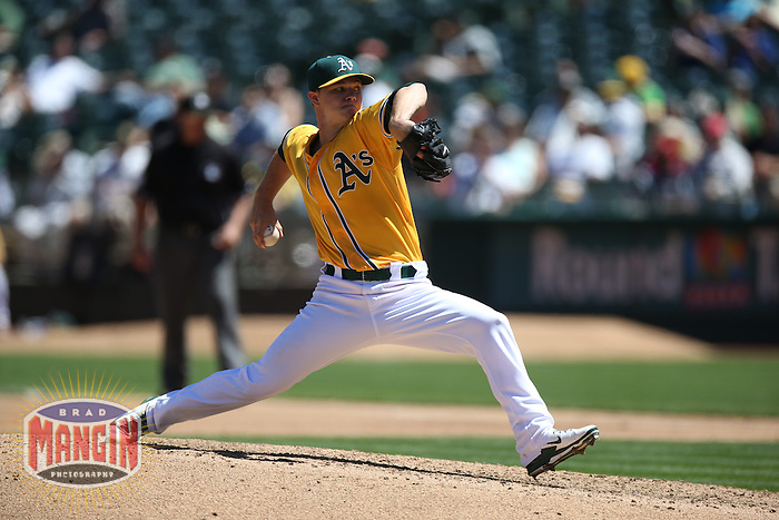 OAKLAND, CA - AUGUST 15:  Sonny Gray #54 of the Oakland Athletics pitches against the Houston Astros during the game at O.co Coliseum on Thursday, August 15, 2013 in Oakland, California. Photo by Brad Mangin