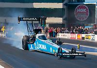 Oct 14, 2019; Concord, NC, USA; NHRA top fuel driver Leah Pritchett during the Carolina Nationals at zMax Dragway. Mandatory Credit: Mark J. Rebilas-USA TODAY Sports