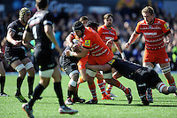Sebastian De Chaves of Leicester Tigers is tackled by Mako Vunipola of Saracens during the Aviva Premiership Rugby match between Saracens and Leicester Tigers at Allianz Park on Saturday 11th April 2015 (Photo by Rob Munro)