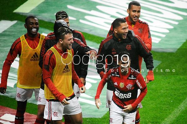 PORTO ALEGRE, RS, 25.08.2021 - GRÊMIO - FLAMENGO - O jogador Michael, da equipe do Flamengo, comemora o seu gol, na partida entre Grêmio e Flamengo, pelas quartas de final da Copa do Brasil 2021, estádio Arena do Grêmio, em Porto Alegre, nesta quarta-feira (25).