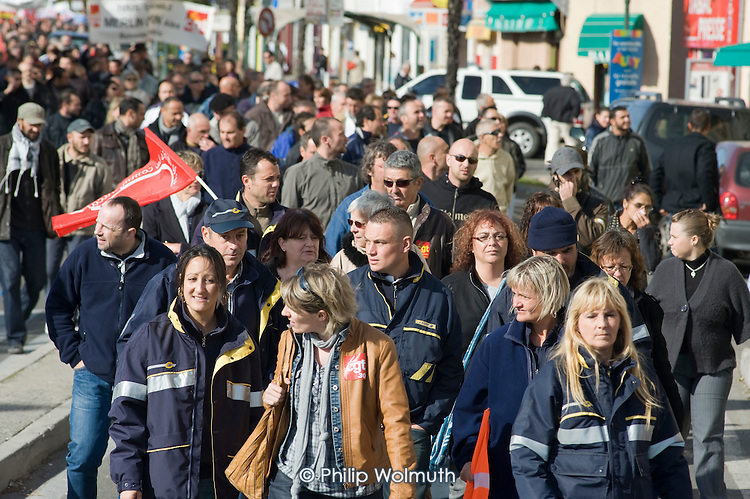 Workers and students in the ex-coalmining town of Alès, in southern France, join a day of nationwide protest against the Sarkozy government's proposed pension reforms.