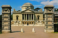 Chiswick House, facade. Middlesex, England, 1725. Designed by Lord Burlington in Neo-Palladian style.