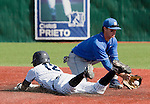 March 10, 2012:   Nevada Wolf Pack's Garrett Yrigoyen slides safely into second as UC Santa Barbara Gauchos Joe Woodward fields the ball during  their NCAA baseball game played at Peccole Park on Saturday afternoon in Reno, Nevada.