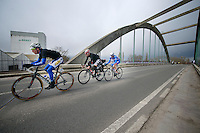 Kenneth Vanbilsen (BEL/Topsport Vlaanderen-Baloise), Kris Boeckmans (BEL/Lotto-Belisol) & James Vanlandschoot (BEL/Wanty-GroupeGobert) force the decisive break of the race<br /> <br /> Dwars Door Vlaanderen 2014