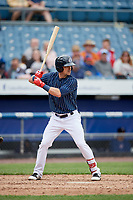 Syracuse Chiefs center fielder Matt Reynolds (1) at bat during a game against the Lehigh Valley IronPigs on May 20, 2018 at NBT Bank Stadium in Syracuse, New York.  Lehigh Valley defeated Syracuse 5-2.  (Mike Janes/Four Seam Images)