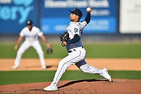 Asheville Tourists starting pitcher Jose Bravo (16) delivers a pitch during a game against the Aberdeen IronBirds on June 15, 2021 at McCormick Field in Asheville, NC. (Tony Farlow/Four Seam Images)