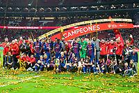 FC Barcelona celebrating the championship during King's Cup Finals match between Sevilla FC and FC Barcelona at Wanda Metropolitano in Madrid, Spain. April 21, 2018.  *** Local Caption *** © pixathlon<br /> Contact: +49-40-22 63 02 60 , info@pixathlon.de