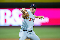 Salem Red Sox relief pitcher Bobby Poyner (38) in action against the Winston-Salem Dash at BB&T Ballpark on June 16, 2016 in Winston-Salem, North Carolina.  The Dash defeated the Red Sox 7-1.  (Brian Westerholt/Four Seam Images)