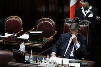 Il Presidente della Camera Gianfranco Fini.Roma 25/01/2012 Voto alla Camera dei Deputati per la mozione unitaria sulla politica europea dell'Italia.Foto Insidefoto Serena Cremaschi