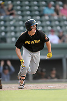 Designated hitter Jarred Kelenic (10) of the West Virginia Power in a game against the Greenville Drive on Sunday, May 19, 2019, at Fluor Field at the West End in Greenville, South Carolina. Greenville won, 8-4. (Tom Priddy/Four Seam Images)