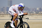 Austrian Champion Matthias Brandle (AUT) Israel Start-Up Nation during Stage 2 of the 2021 UAE Tour an individual time trial running 13km around  Al Hudayriyat Island, Abu Dhabi, UAE. 22nd February 2021.  <br /> Picture: Eoin Clarke | Cyclefile<br /> <br /> All photos usage must carry mandatory copyright credit (© Cyclefile | Eoin Clarke)