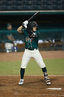 Grant Koch (23) of the Greensboro Grasshoppers at bat against the Hickory Crawdads at First National Bank Field on May 6, 2021 in Greensboro, North Carolina. (Brian Westerholt/Four Seam Images)