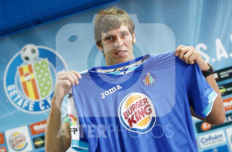 Getafe's new player Ruben Perez during his official presentation. September 2, 2011. (ALTERPHOTOS/Acero)