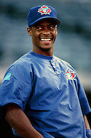 Homer Bush of the Toronto Blue Jays during a game against the Anaheim Angels at Angel Stadium circa 1999 in Anaheim, California. (Larry Goren/Four Seam Images)