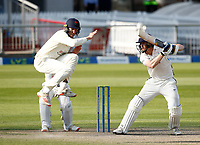29th May 2021; Emirates Old Trafford, Manchester, Lancashire, England; County Championship Cricket, Lancashire versus Yorkshire, Day 3; Luke Wells of Lancashire takes evasive action as Tom Kohler-Cadmore of Yorkshire hits his shot to the off side