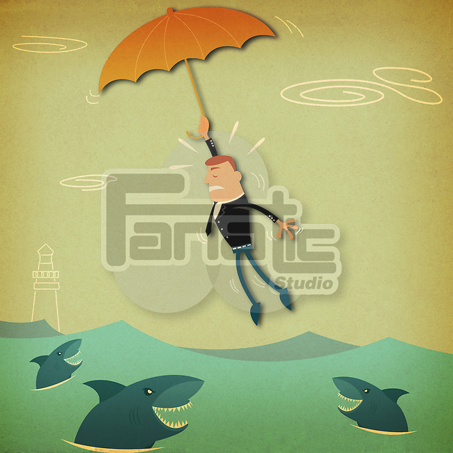Businessman flying with an umbrella over the sea