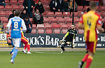 Partick Thistle v St Johnstone…28.10.17…  Firhill…  SPFL<br />Miles Storey scores for Partick<br />Picture by Graeme Hart. <br />Copyright Perthshire Picture Agency<br />Tel: 01738 623350  Mobile: 07990 594431