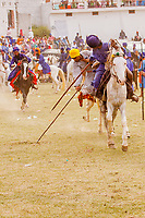 asia,India,Punjab, Anandpur Sahib, Nihang or Sikh warrior carrying spear doing tent pegging riding on horse at  the Holla Mohalla annual festival