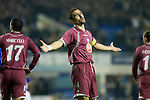 Everton 3 Larissa 1, 25/10/2007. Goodison Park, Europa League Group A. Larissa defender and captain Nikon Dabizas reacts with disbalief as Everton take the lead at Goodison Park, Liverpool in their UEFA Cup Group A match. Everton beat the Greek team by three goals to one on the opening night of group matches in the UEFA Cup. It was the first meeting between the two clubs. Photo by Colin McPherson.