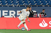 FOXBOROUGH, MA - AUGUST 5: Selmir Miscic #9 of North Carolina FC dribbles during a game between North Carolina FC and New England Revolution II at Gillette Stadium on August 5, 2021 in Foxborough, Massachusetts.
