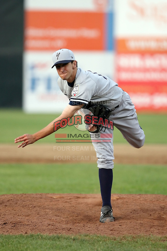 July 5th 2008:  Pitcher Pat Venditte of the Staten Island Yankees, Class-A affiliate of the NY Yankees, during a game at Falcon Park in Auburn, NY.  Photo by:  Mike Janes/Four Seam Images