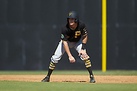 Chase Lambert (2) of the Bristol Pirates takes his lead off of first base against the Danville Braves at American Legion Post 325 Field on July 1, 2018 in Danville, Virginia. The Braves defeated the Pirates 3-2 in 10 innings. (Brian Westerholt/Four Seam Images)