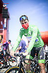 Green Jersey Fabio Jakobsen (NED) Deceuninck-Quick-Step at sign on before the start of Stage 16 of La Vuelta d'Espana 2021, running 180km from Laredo to Santa Cruz de Bezana, Spain. 31st August 2021.     <br /> Picture: Charly Lopez/Unipublic   Cyclefile<br /> <br /> All photos usage must carry mandatory copyright credit (© Cyclefile   Unipublic/Charly Lopez)