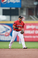 Erie SeaWolves third baseman Isaac Paredes (18) during an Eastern League game against the Akron RubberDucks on June 2, 2019 at UPMC Park in Erie, Pennsylvania.  Akron defeated Erie 7-2 in the first game of a doubleheader.  (Mike Janes/Four Seam Images)