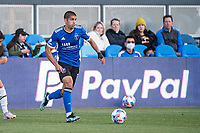 SAN JOSE, CA - MAY 15: Luciano Abecasis #2 of the San Jose Earthquakes dribbles the ball during a game between San Jose Earthquakes and Portland Timbers at PayPal Park on May 15, 2021 in San Jose, California.