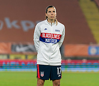 BREDA, NETHERLANDS - NOVEMBER 27: Tobin Heath #17 of the USWNT line up during the national anthem before a game between Netherlands and USWNT at Rat Verlegh Stadion on November 27, 2020 in Breda, Netherlands.