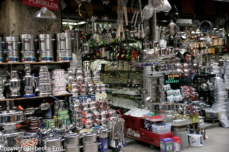 Pots and pans for sale in Istanbul, Turkey