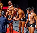 Winners of the South China Men's Athletic Physique over 173cm (Round 2) category during the 2016 Hong Kong Bodybuilding Championships on 12 June 2016 at Queen Elizabeth Stadium, Hong Kong, China. Photo by Lucas Schifres / Power Sport Images