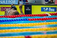 Manuel Simone of USA react after winning the women's 100m freestyle final during 18th Fina World Championships Gwangju 2019 at Nambu University Municipal Aquatics Centre, Gwangju, on 26  July 2019, Korea.  Photo by : \3500799#1\ / Prezz Images