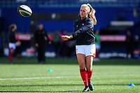 Hannah Jones of Wales during the pre match warm up for the Women's Six Nations match between Wales and Ireland at Cardiff Arms Park, Cardiff, Wales, UK. Sunday 17 March 2019