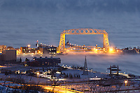 """Aerial Lift Bridge in Sea Smoke""<br />