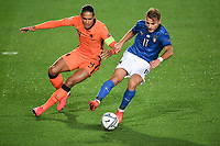 Virgil Van Dijk of Netherlands and Ciro Immobile of Italy during the Uefa Nation League Group Stage A1 football match between Italy and Netherlands at Atleti azzurri d Italia Stadium in Bergamo (Italy), October, 14, 2020. Photo Andrea Staccioli / Insidefoto