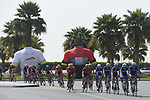 The peloton with Quick-Step Floors on the front during Stage 5 The Meraas Stage final stage of the Dubai Tour 2018 the Dubai Tour's 5th edition, running 132km from Skydive Dubai to City Walk, Dubai, United Arab Emirates. 10th February 2018.<br /> Picture: LaPresse/Fabio Ferrari | Cyclefile<br /> <br /> <br /> All photos usage must carry mandatory copyright credit (© Cyclefile | LaPresse/Fabio Ferrari)